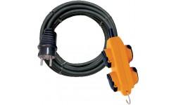 Brennenstuhl Rallonge 10m de câble avec bloc 4 prises à clapet (IP44), Fabrication Française