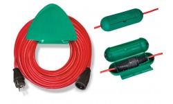 Brennenstuhl Rallonge rouge 40m de câble, avec support mural vert et safe box, Fabrication Française