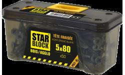 Vis bois et agglomérés - 5x80 - PZ - etui ceinture de 50 STARBLOCK